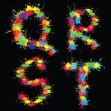 Alfabeto colorido do vetor com borrões QRST ilustração stock