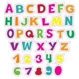 Alfabeto colorido dos desenhos animados para crianças Coleção educacional do vetor das letras e dos números Imagens de Stock Royalty Free