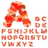 Alfabeto colorido hecho de corazones Foto de archivo
