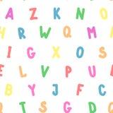 Alfabeto colorido inglés del modelo inconsútil simple Fotografía de archivo libre de regalías