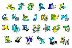 Alfabeto colorido pintado a mano hermoso para que niños con las imágenes felices y niños aprendan las letras del ABC, escritura,  stock de ilustración