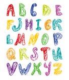 Alfabeto colorido tirado mão ilustração do vetor