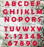 Alfabeto com letras e números Imagem de Stock