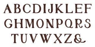 Alfabeto completo do Grunge Tração da mão Letras do vetor ilustração royalty free