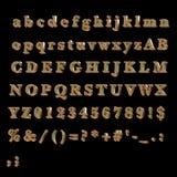 Alfabeto completo fatto di bronzo Immagini Stock Libere da Diritti