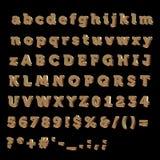 Alfabeto completo fatto di bronzo Fotografia Stock Libera da Diritti