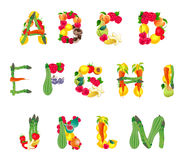 Alfabeto composto dalla frutta e dalle verdure, prima parte royalty illustrazione gratis