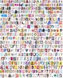 Alfabeto con 516 cartas, números, símbolos Imagen de archivo libre de regalías