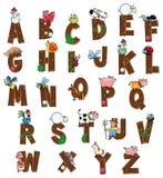 Alfabeto con gli animali ed i coltivatori. Fotografia Stock Libera da Diritti