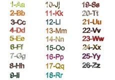 Alfabeto con i numeri Immagini Stock