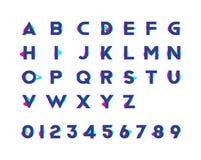 Alfabeto con i numeri e l'effetto d'avanguardia di impulso errato Illustrazione piana ENV 10 Fotografia Stock Libera da Diritti