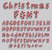 Alfabeto con la fuente del bastón de caramelo de la Navidad Imagen de archivo