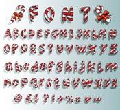 Alfabeto con la fuente del bastón de caramelo de la Navidad Imagenes de archivo