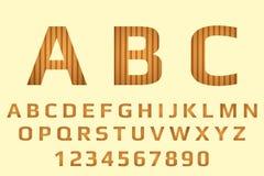 Alfabeto con las rayas oscuras y marrones claras Caligrafía y números de madera en vagos en colores pastel stock de ilustración