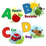 Alfabeto con le lettere e le immagini a loro illustrazione di stock