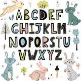 Alfabeto con los conejos lindos ilustración del vector