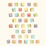 Alfabeto con números, fuente infantil Bloques coloridos del juguete para la educación de los niños stock de ilustración