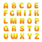 Alfabeto con succo d'arancia Immagine Stock Libera da Diritti