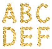 Alfabeto concatenato dorato Immagini Stock