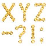 Alfabeto concatenato dorato Fotografia Stock
