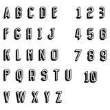 Alfabeto condensado vintage de la sombra stock de ilustración