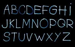 Alfabeto criado com a luz imagem de stock