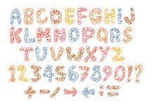 Alfabeto criançola do esboço com letras dos desenhos animados Foto de Stock Royalty Free