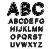 Alfabeto cucito in bianco e nero della fonte tipografica Fotografia Stock Libera da Diritti
