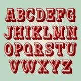 Alfabeto d'annata 3d Retro carattere Illustrazione della fonte di vettore immagini stock libere da diritti