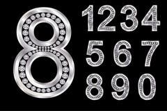Alfabeto d'argento con i diamanti, lettere da A alla Z illustrazione vettoriale