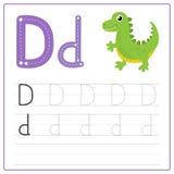 Alfabeto D de la tarjeta de la escritura Fotografía de archivo