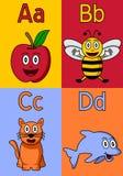 Alfabeto A-D del jardín de la infancia Fotografía de archivo libre de regalías
