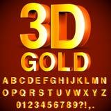 Alfabeto 3D e números dourados ilustração do vetor