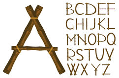 Alfabeto da bambù Fotografie Stock Libere da Diritti