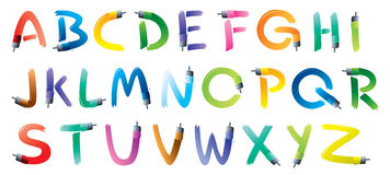 Alfabeto da escova de pintura Fotografia de Stock