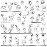 Alfabeto da felicidade dos desenhos animados do desenho da mão Fotos de Stock Royalty Free