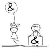 Alfabeto da felicidade dos desenhos animados do desenho da mão Imagens de Stock Royalty Free
