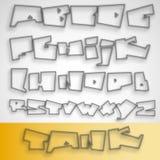 alfabeto da fonte dos grafittis 3D Fotografia de Stock