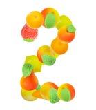 Alfabeto da frutta, il numero 2 Fotografia Stock Libera da Diritti