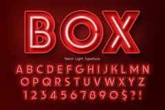 Alfabeto da luz de néon 3d, fonte de incandescência extra ilustração stock