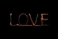 Alfabeto da luz do fogo de artifício do chuveirinho do amor Imagem de Stock
