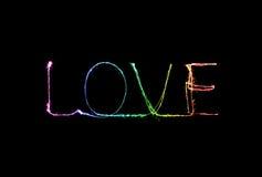 Alfabeto da luz do fogo de artifício do chuveirinho do amor Imagens de Stock Royalty Free