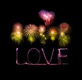 Alfabeto da luz do fogo de artifício do chuveirinho do amor com fogos-de-artifício Foto de Stock