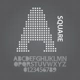 Alfabeto da matriz quadrada e vetor dos números Imagens de Stock Royalty Free
