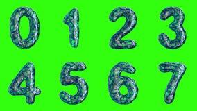 Alfabeto da plastica blu con i fori astratti isolati su un fondo verde Il numero 0 1 2 3 4 5 6 7 4K illustrazione vettoriale