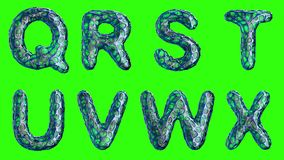 Alfabeto da plastica blu con i fori astratti isolati su un fondo verde Q R S T U V W X 4K royalty illustrazione gratis