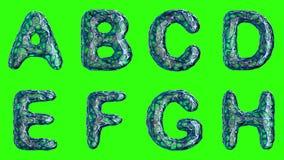 Alfabeto da plastica blu con i fori astratti isolati su un fondo verde UNA B C D G E-F H 4K royalty illustrazione gratis