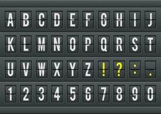 Alfabeto da tabela da chegada do aeroporto com caráteres e números Fotografia de Stock