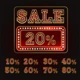 Alfabeto da venda com ampola Estilo de Broadway Fotos de Stock