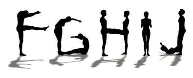 Alfabeto dado forma por homem FGHIJ Fotos de Stock